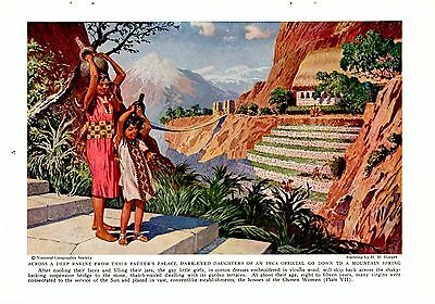 1938 Daughters of Incan Official Gather Water Chosen Women H M Herget Art Print