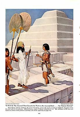 1941 Egyptian King Djoser & Architect I-Em-Hotep Royal Pyramid H M Herget Art