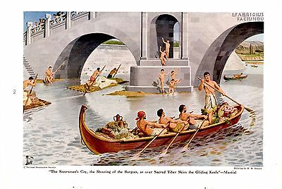 1946 Roman Barge Bridge over the River Tiber H M Herget Ancient Rome Art Print