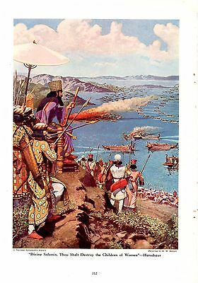 Xerxes Persian Navy Battle of Slamis 480 BC H M Herget Ancient Greece 1944 Print