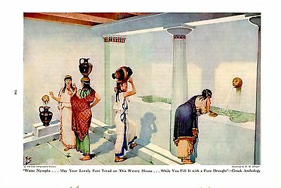 1944 Greek Anthology Water Nymphs Fountain H M Herget Ancient Greece Art Print