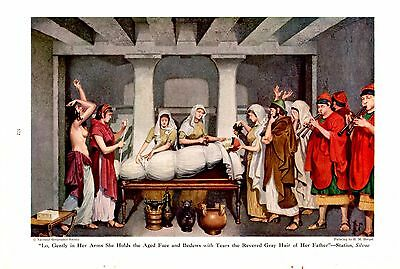 1946 Etruscan Roman Noble Funeral Preperation H M Herget Ancient Rome Art Print