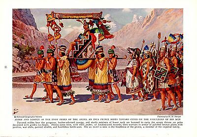 1938 Inca Prince Rides Palaquin To Cuzco Priests Warrior H M Herget Art Print