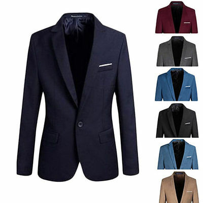 Men's Casual Slim Fit Formal One Button Suit Blazer Coat Jacket Tops Stylish Hot