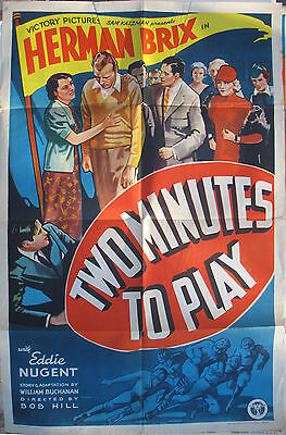 Movie Poster – Orig.1936 - One Sheet Two Minutes To Play - Football