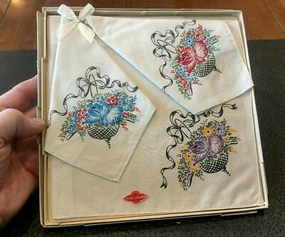 Vintage Hand Colored Floral Handkerchiefs - Boxed Set of 3