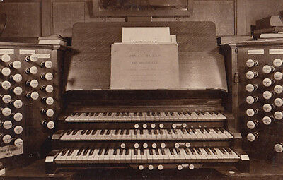 Organ at St Johns Church Lowestoft Suffolk Bach Antique Old Real Photo Postcard
