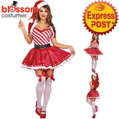 K287 Ladies Candy Cane Santa Christmas Xmas Fancy Dress Up Costume Hat Outfit