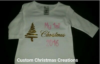 Baby My 1st CHRISTMAS 2016 white top w/gold glitter writing NEW girl  size 0000