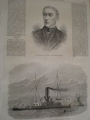 Bombay India defence ships HMS Abyssinia and Magdala 1871 print ref Z3