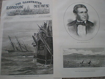 The Sinking of HMS Vanguard and Commodore Goodenough 1875 old prints