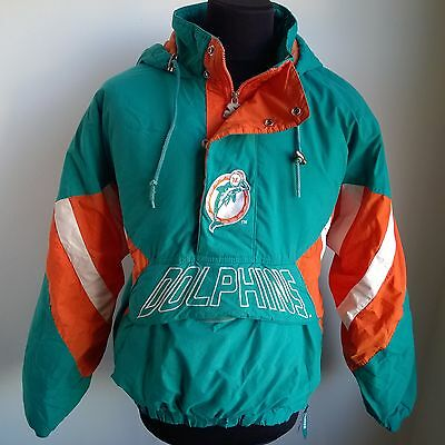 Miami Dolphins Bench Coat Nfl Football Jacket Starter Pro Line Size Adult L