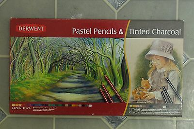 Derwent 24 Pastel Pencils 12 Tinted Charcoal pencil set NEW made in UK