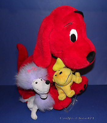 """CLIFFORD The Big Red Dog * Large Soft Toy With T-Bone & Cleo * 19"""" (48cm) Tall *"""