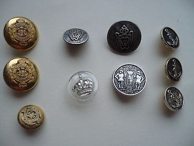 10 x Vintage  Assorted Buttons / including Military