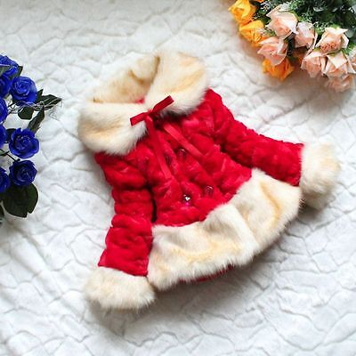 Baby Girls Faux Fur Fleece Lined Winter Outwear Jacket Coat Dress - red