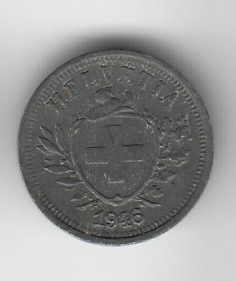 Swiss 1 Cent 1946 Zinc Shield Ef+     48C           By Coinmountain