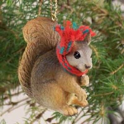 Cute RED SQUIRREL Ornament RESIN Figurine statue NEW Christmas Holiday ANIMAL