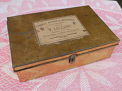 Vintage French Metal Chemist Pharmacy Box Tin  - Leclerc Design And Graphics