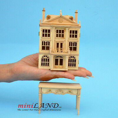 Colonial DOLLHOUSE FOR DOLLHOUSE WITH TABLE UNFINISHED (1:144) wood Top quality