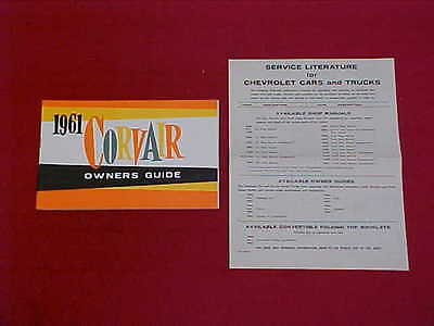 1961 Corvair Original Nos Owners Manual Service Guide Book 61 Glovebox Factory