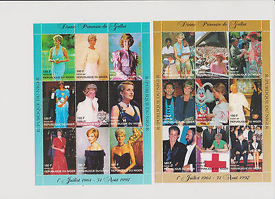 Princess Diana of Wales 6 Souvenir Sheets 36 Stamps from Niger Somalia Others |