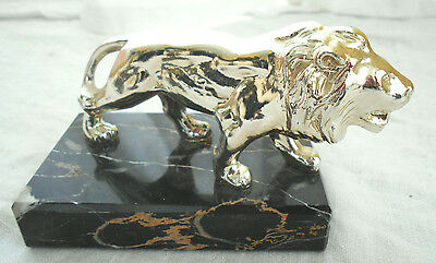 Gold Tone Metal Lion on a Green Marble Base Desk Decor or Paperweight