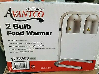 Chef Commercial Master Portable Heat Lamp Food Warmer Two Bulb