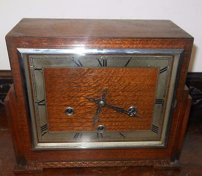 oak cased deco westminster chiimes mantel clock