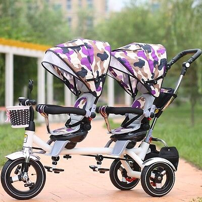 New Twins Stroller Toddler Pram Tandem Rotatable Seat Baby Tricycle Ride-On Safe