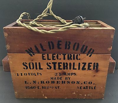 Antique Wood Box Wildebour Electric Soil Sterilizer, Roberson Co, Cloth Wire VTG