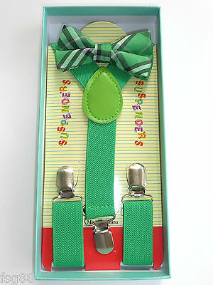 New Baby Toddler Kids Child Plaid Tartan Green Suspenders Bow Tie Gift Box Set