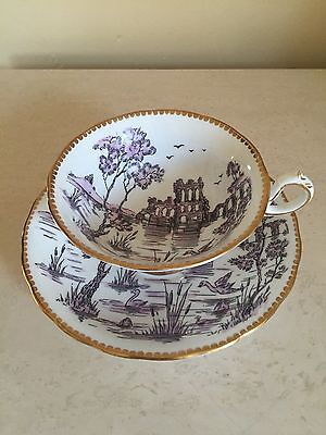 Royal Chelsea PURPLE Bone China Wide Teacup Saucer Set Castle Lake Bird Scene