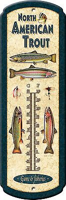 Tin Thermometer,TROUT  Metal Vintage Art,Advertising,62