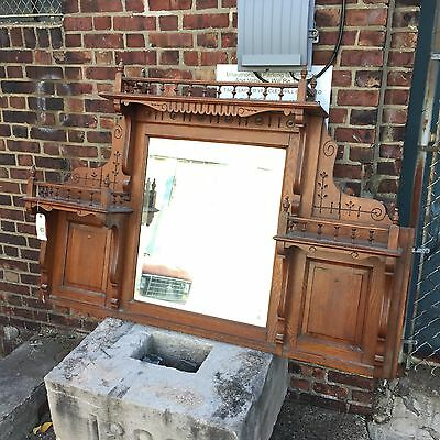 Victorian style ornate mantel topper/shelf with beveled mirror