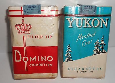 2-vintage Domino and Yukon cigarette packs tobacco with stamp