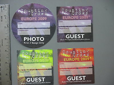 Counting Crows backstage passes 4 Satin cloth stickers 2009 Tour !