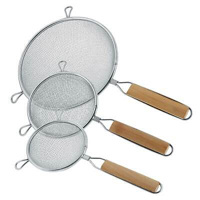 "U.S. Kitchen Supply 3 Fine Double Mesh Stainless Steel Strainers 4.5"", 5.5"" & 8"""