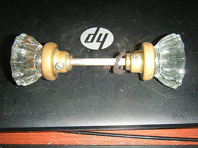 Antique 12 Point Pair Crystal Glass Door Knobs with Brass Hardware