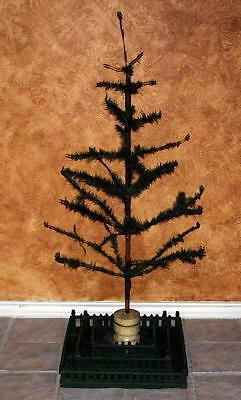 "Authentic Antique 48"" German Christmas Goose Feather Tree with Metal Candle Cups"