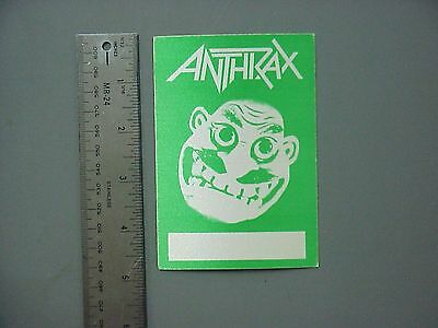 Anthrax satin cloth backstage pass late 80s green rectangle