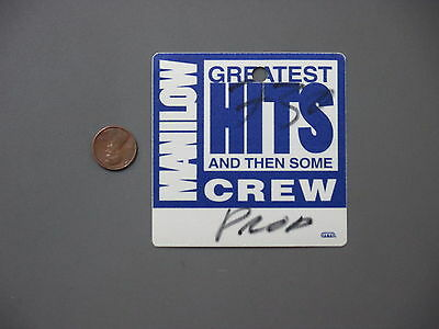 Barry Manilow satin backstage pass AUTHENTIC Greatest Hits BLUE!