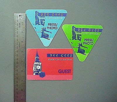 Bee Gees satin cloth backstage passes 3 from High Civilization Tour !