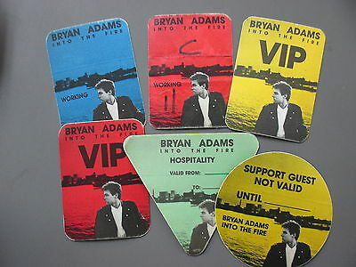 Bryan Adams backstage passes Set of 6 Into the Fire satin cloth stickers !