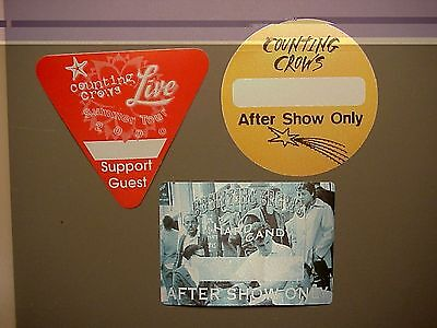 Counting Crows 3 satin backstage passes AUTHENTIC Summer 2000 & Hard Candy