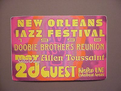 Doobie Brothers satin cloth backstage pass Reunion 1998 New Orleans Jazz Fest
