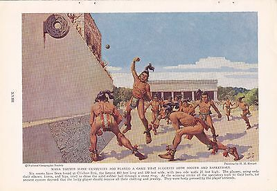1936 Chichen Itza Mayan Ball Court Game H M Herget Vintage Antiquities Art Print