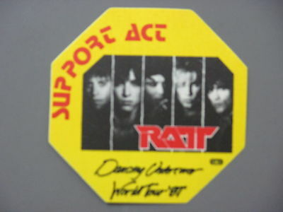 RATT  backstage pass cloth sticker AUTHENTIC Dancing Undercover yellow octagon !