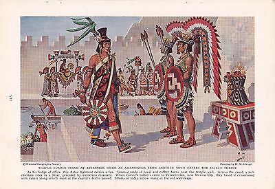 1937 Aztec Temple Guards Tenochitlan - H. M. Herget Native American Art Print