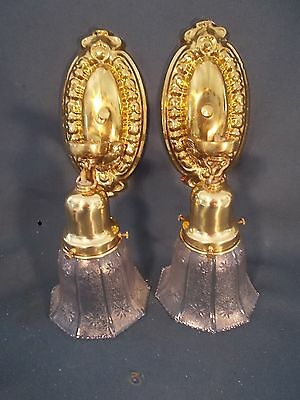Vintage pair of Embossed Brass Metal Sconces Great original Patina with Shades